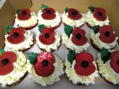 rememberence day cupcakes Cake by chrisilyn Army Cake, Military Cake, Cake Decorating Supplies, Decorating Ideas, Cup Cakes, Cupcake Cakes, Moist Cupcakes, Military Decorations, Gbbo