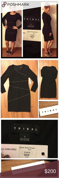 """NWT Tribal Zipper Detail black fully lined dress 📦Same day shipping (excluding Sun/holidays or orders placed after P.O. Closed) ❤️Please ask any questions prior to buying. I want you to be completely Happy.  Release your inner fierce vixen in this body hugging long sleeved black dress with zipper front detailing. Fully lined with a back zipper.  The outer shell is 63% polyester, 33% rayon, 4% spandex and the lining is 100% polyester. Flat measurements: 17"""" across chest, 37.5"""" long. Last…"""