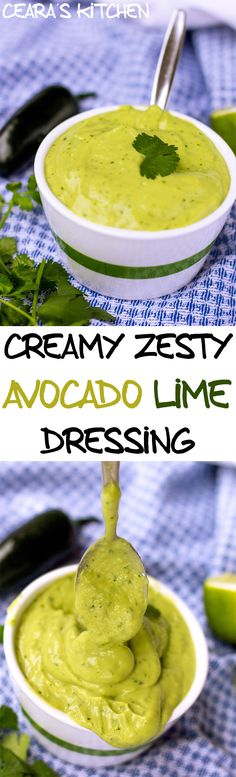 Creamy Zesty Avocado Dressing Vegan Healthy Gluten Free - great for the baked burritos