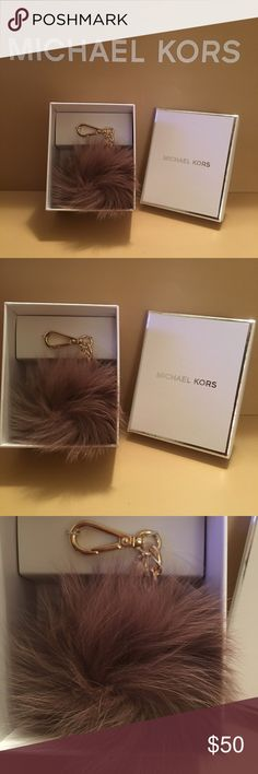 NWT - MICHAEL KORS FOX FUR BALL CHARM PURSE FOB NEW WITH TAG.  MICHAEL KORS (COLOR DUSTY ROSE) PURSE REAL FOX FUR BALL FOB.  THIS IS TRENDING AND HOT!  THIS COLOR IS VERY FEMININE AND GOES WELL WITH BAG.  THIS IS A MEDIUM SIZE BALL NOT SMALL:-)  GOLD HARDWARE AND ALL MICHAEL KORS INSIGNIA:-)  THANKS FOR VIEWING AND SHARING MY CLOSET.  PLEASE COME BACK SOON AS I FREQUENTLY UPDATE MY CLOSET WITH NICE NEW ITEMS JUST FOR YOU:-) MICHAEL KORS Accessories Key & Card Holders