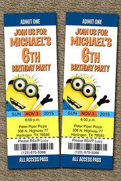 despicable me ticket invitations
