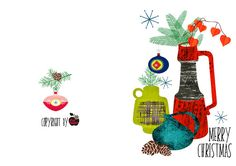 printable illustrated double Christmas by sevenstar on Etsy, $14.00