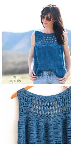 T-shirt Au Crochet, Pull Crochet, Mode Crochet, Crochet Cardigan Pattern, Crochet Woman, Crochet Blouse, Crochet Patterns, Diy Blouse, Dress Patterns