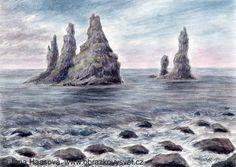 REYNISDRANGAR. watercolor and pastel by Jana Haasová Vzhlížejí k nebi trollové zkamenělí legenda skrytá v hlubinách. Na břehu černého písku malíř s paletou smutných barev čeká na svůj čas kdy s úsvitem mihne se růžová. Nesmělé slunce nízko nad obzorem pohladilo kámen bičovaný vlnami. Mihnul se úsměv zelený odvážné květeny uchycené ve skalách. Ožila paleta v tónech čedičových zrodil se obraz Reynisdrangar.