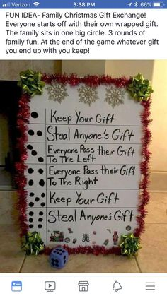 Family christmas games ideas signs New Ideas Family Christmas Gifts, Noel Christmas, Christmas Traditions, Winter Christmas, Christmas Crafts, Christmas Decorations, Christmas Ideas, Guy Christmas Presents, Christmas Present Exchange Games