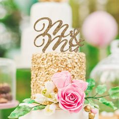 "Our ""Mr & Mrs"" cake topper is a beautiful and romantic way to adorn your wedding cake. This cake topper is also available in glitter! Our custom designed cake topper is truly unique and is a statement"