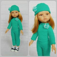 Doll clothes Corolle Les Cheries doll sweater hat crochet
