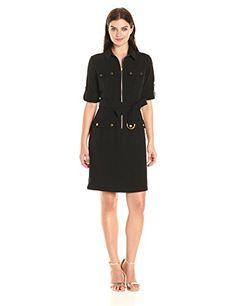 Sharagano Women's Cargo Pocket Belted Shirt Dress - http://www.darrenblogs.com/2017/03/sharagano-womens-cargo-pocket-belted-shirt-dress/
