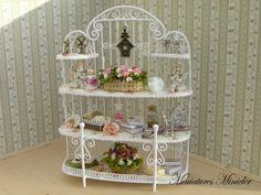 Miniature Dollhouse Metal Shelf Shabby Chic Theme by Minicler