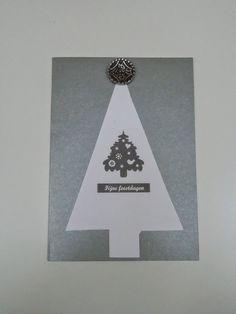 kerstkaartjes zilverkleurig,gemaakt van gerecycleerde kaartjes en knoopje