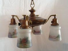 Antique All Original Pan Chandelier Victorian 4 Reverse Paint