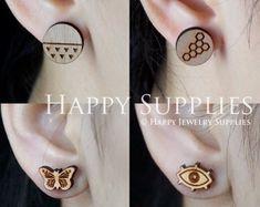 4pcs Mini (SMN65-66&159-160) DIY Laser Cut Wooden Earring Charms - SWC Series