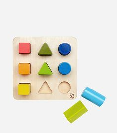 A wooden learning toy for 1 year olds that teaches different shades of color.