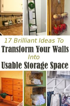 Storage hacks! 16 brilliant ideas to transform unused wall space into awesome storage space.