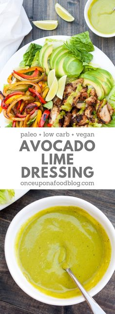Paleo, low FODMAP, low carb, Whole 30 and vegan, this gorgeous dressing is packed full of the good stuff. Avocado, lime juice, spinach and olive oil all put in an appearance in a dressing that just begs to be devoured. #avocadodressing #quickdressing #easydressing #healthydressing #guacamole  #healthyavocadodressing #creamyavocadodressing #ranchdressing #lowcarbdressing  #whole30dressing #paleodressing #lowfodmapdressing #onceuponafoodblog