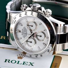 Close-up of a stainless steel Rolex Daytona white dial watch in courtesy of @thewatchclub  | #LoveWatches