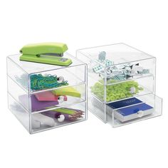 amazoncom interdesign 3 drawer storage organizer clear closet storage and organization