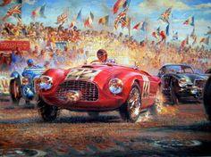 """Fine Art Print - Triple First - Ferrari 166M - Le Mans 25/26 juni 1949 - Artiest: Alfredo de La Maria  Luigi Chinetti krachten zijn ver van de Frazer Nash """"High Speed"""" aan het begin van de 1949 Le Mans 24 uurs race op weg naar zijn 3de regelrechte overwinning. Rijden de heer Selsdon particulier ingevoerd Ferrari 166M. Chinetti scoort Ferrari's eerste Le Mans overwinning en beveiligt de begeerde index van prestaties op de Sarthe circuit de eerste naoorlogse race.. Beperkte editie 279/850 PC's…"""