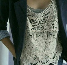 Lace top + navy blazer! I just bought one of each.