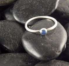 Blue Onyx and Sterling Silver Stacking Ring | SimpleDesignJewelry - Jewelry on ArtFire