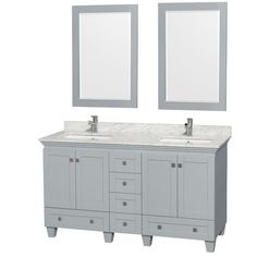 Acclaim 60-inch W Double Vanity in Oyster Grey with Carrara Top, Square Sinks and Mirrors