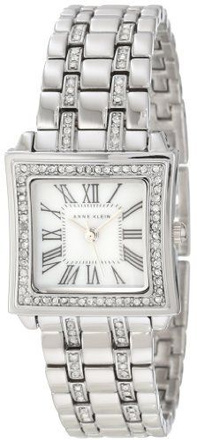Anne Klein Women's 10/9749MPSV Swarovski Crystal Accented Silver-Tone Bracelet Watch Anne Klein. $50.98. Silver-tone hour, minute and second hands. Silver-tone adjustable link bracelet with 48 Swarovski crystals set in two rows of first 3 links. 56 genuine Swarovski crystals set in bezel. Genuine mother-of pearl dial with black Roman numeral markers at all hours. 23 mm curved square silver-tone case