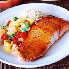 Salmon,brown rice and veggies
