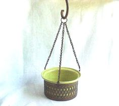 1950s Hanging Planter  Chartreuse Pottery in by IrrenaysTreasures, $20.00 SOLD Hanging Planters, Planter Pots, Thing 1, Metal Baskets, Plant Stands, Copper And Brass, Sell Items, Brass Color, Vases