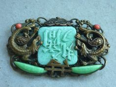 VINTAGE-ART-DECO-NEIGER-BROTHERS-CZECH-PEKING-GLASS-CHINESE-DRAGON-BROOCH-c1930s