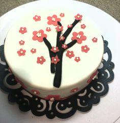 Cherry blossom round cake