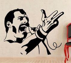 Freddie Mercury Mur Decal Rock Musique Reine Vinyle Autocollant Rétro Art Décor Bar Studio Club Restaurant Accueil Intérieur Chambre Murale