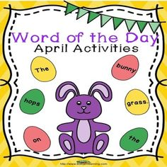 Vocabulary: These activities will help your students with April vocabulary. Your students will cut out egg words, lay them out in order, and glue them in order. They will practice writing sentences and draw what they write. There is also a bonus sentence for them to do. You could use the bonus sentences as a class book on topics like Easter or Earth Day. $ #vocabulary#April#spring#ELA#TPT#word order#teaching ideas#education#writing