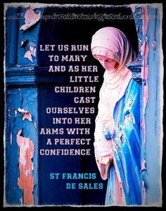 """""""Let us run to Mary, and, as her little children, cast ourselves into her arms with a perfect confidence."""" ~ St. Francis de Sales"""