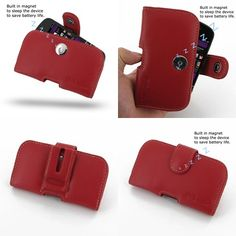 PDair Leather Case for BlackBerry Q10 - Horizontal Pouch Type (Red)