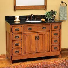 """48"""" American Craftsman Vanity Cabinet; $1,623.95 - $1,896.95  Originally $2,192.95 - $2,560.95; Vanity only dimensions: 48"""" L x 21"""" W (front to back) x 33-1/2"""" H (± 1/2""""). A-Grade granite and marble colors, thicknesses, and drilling options.   •Also available as vanity cabinet only. accommodate vessel or semi-recessed sinks."""