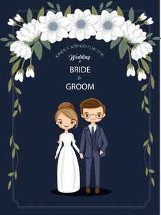 Cute cartoon couple for wedding invitations card Premium Vector couple cartoon Wedding Invitation Background, Wedding Invitation Card Design, Indian Wedding Invitations, Wedding Card Design, Wedding Cards, E Invite, Bride Cartoon, Wedding Couple Cartoon, Wedding Couples