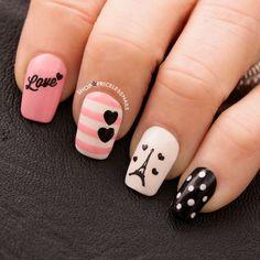 ✨ paris amour nails ✨ nails in 2019 uñas parisinas, uñas juv Paris Nails, Paris Nail Art, Nail Art For Kids, Romantic Nails, Nagellack Design, Cute Nail Art, Best Acrylic Nails, Super Nails, Diy Nails