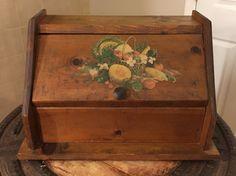 Vintage Wooden Farm House Bread Box Large Wood by belladonnasattic