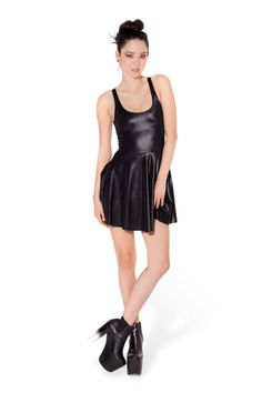 Wet Look Reversible Skater Dress › Black Milk Clothing