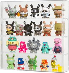 Wall Mounted Display Case for Figures Great for KidRobot Dunny and fatcap. Wall Mounted Display Case, Glass Display Case, Toy Display, Display Cases, Batman Action Figures, Robots For Kids, Displaying Collections, Vinyl Toys, Designer Toys