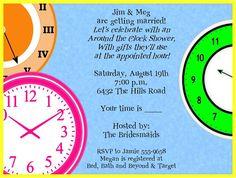 Bright Clocks Around The Clock Bridal Shower Invitations