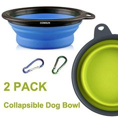 Comsun 2-pack Large Size Collapsible Dog Bowl, Food Grade Silicone BPA Free FDA Approved, Foldable Expandable Cup Dish for Pet Cat Food Water Feeding Portable Travel Bowl Blue and Green Free Carabiner *** Be sure to check out this awesome product.