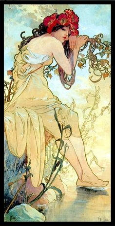 Art Nouveau artist Alphonse Mucha was a master of using nymph-like women to personify forces and elements of nature such as the seasons of the year.The perfect gift for jigsaw puzzlers, fans Art Nouveau and Mucha paintings, this traditional adul. Art Nouveau Mucha, Alphonse Mucha Art, Art Nouveau Poster, Art Nouveau Disney, Art And Illustration, Inspiration Art, Art Inspo, Jugendstil Design, Arte Pop