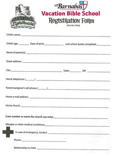 Sunday School Registration Form  Biz Card