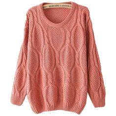 Pink Long Sleeve Mohair Cable Knit Sweater (15 CAD) ❤ liked on Polyvore featuring tops, sweaters, sheinside, pink, cable knit pullover sweater, loose sweaters, red cable knit sweater, cable-knit sweater and red sweater
