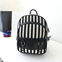 Navy Black And White Stripe College Leisure Style Canvas Backpack School Bag Cute Students Backpack on Aliexpress.com   Alibaba Group