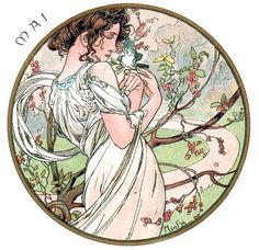 The Months of the Year 'May', lithograph by Alphonse Mucha, 1899