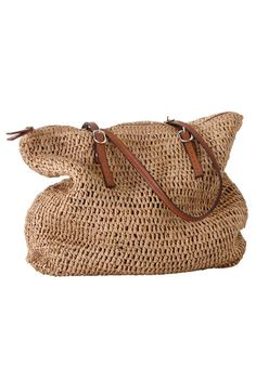 Bag has zip top. Faux leather adjustable straps with silver metal buckles. Fully lined with inside zip pocket and 2 pockets. Fabric: paper Do not wash Imported Measurements H X W X D Large Crossbody Bags, Jute Bags, Straw Tote, Crochet Handbags, Cotton Bag, Metal Buckles, Bag Making, Bag Accessories, Purses And Bags