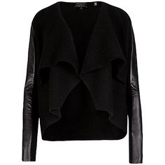 Buy Ted Baker Gaeton Leather Trim Jacket, Black Online at johnlewis.com