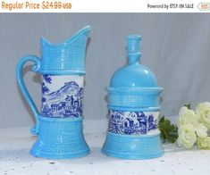 Spingsale2018 Vintage Toile Ceramic Delft Blue and White~On Light Blue~Basket Weave~Cream and Sugar Dish Set by VINTAGEclothHOUSE on Etsy https://www.etsy.com/listing/454948318/spingsale2018-vintage-toile-ceramic